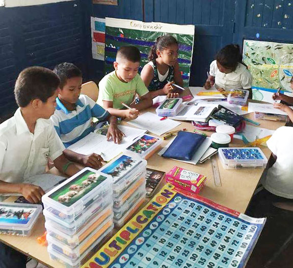 Students at School with Supplies on Table