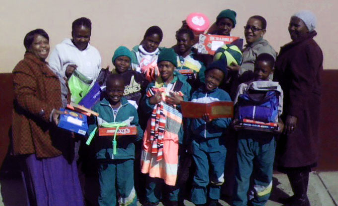 Children at Borite Primary School with supplies