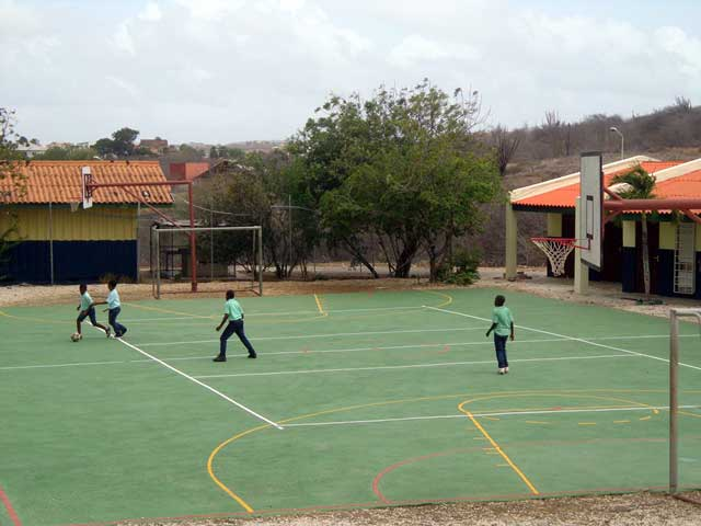 Schoolchildren playing soccer