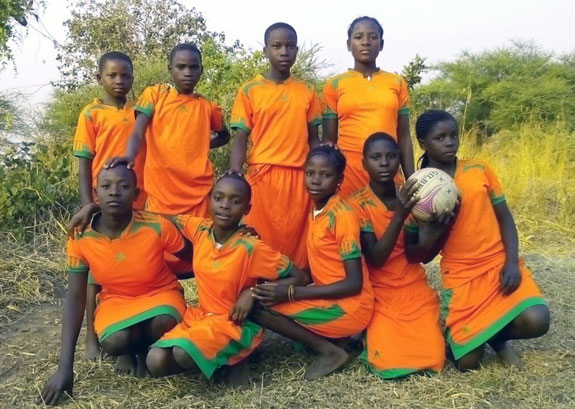 Young Tanzanian girls with soccer ball