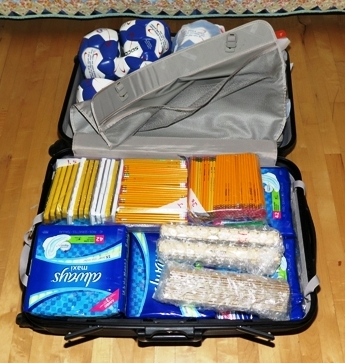 Suitcase full of supplies