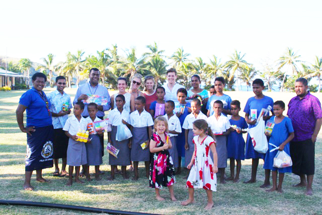 Children on Island Receiving Supplies